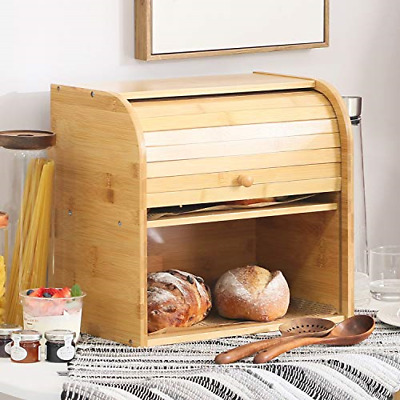 Betwoo Natural Wooden Roll Top Bread Box Kitchen Bamboo Storage Bin 2-Layer Self