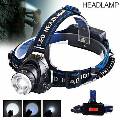 90000LM Head Torch Zoomable LED Headlamp CREE XML T6 Rechargeable Headlight