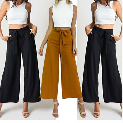 Women High Waist Flared Wide Leg Long Pants OL Work Casual Palazzo Long Trousers