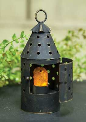 Primitive Country Small Railroad Lantern w/ built-in Timer Candle FREE SHIP