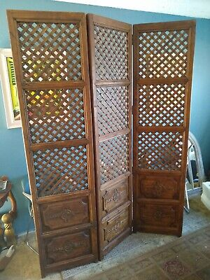 Persian Wooden Room Divide Privacy Screen Vintage