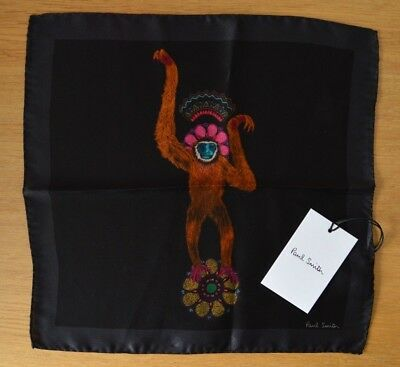 PAUL SMITH 100% silk Monkey paisley animal black pocket square handkerchief
