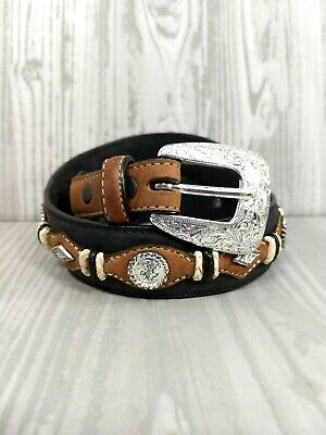 """Bowties Concho/'s .Size 26-Buckle snaps-Brown-/""""USA/"""" Western Leather Belt Oval"""