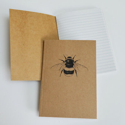 Recycled A6 notebook. Bumblebee illustration. Natural notebook. Bumblebee gift
