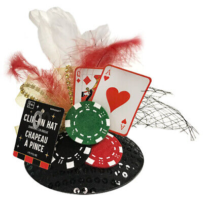 CASINO NIGHT DELUXE CLIP ON FASCINATOR ~ Birthday Party Supplies Hat Costume