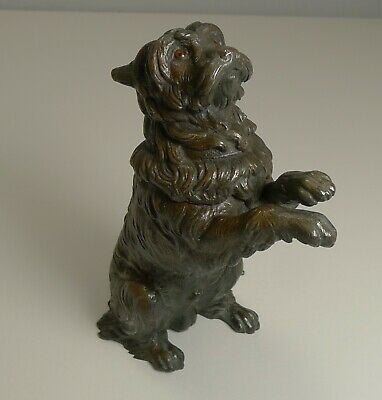 Antique English Bronze Figural Inkwell - Begging Dog With Glass Eyes c.1890