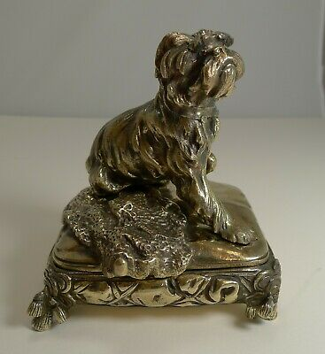 Magnificent Antique English Brass / Bronze Dog Jewelry Box c.1880