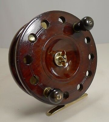 "Large 7 1/2"" Antique English Mahogany and Brass Star-back Fishing Reel c.1910"