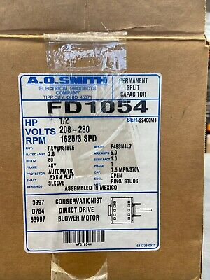FD1054 Blower Motor, 1/2 HP, 1625 RPM, 3 Speed, 1 PH. New/Old stock