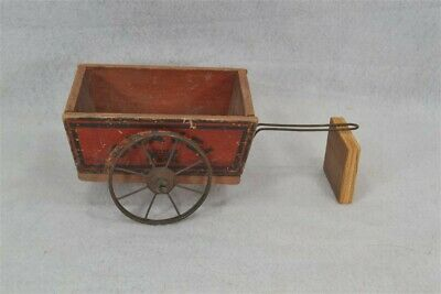toy wooden wagon metal wheel Gravel 4x5 in. horse drawn red antique 19thc 1800