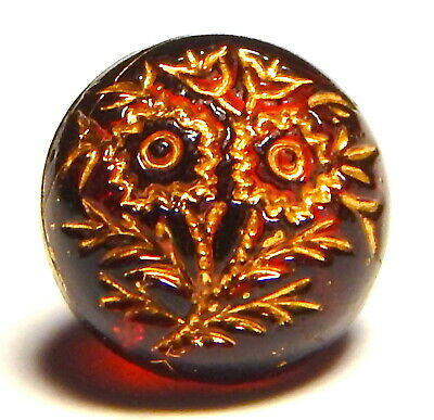 ANTIQUE 19th CENTURY TRANSPARENT RUBY RED GLASS BUTTON w/GILT POSY FLOWERS