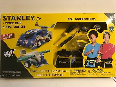 Stanley Jr. 2 Wood Kits & 5-Piece Tool Set Great Gift