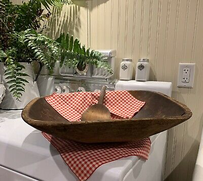 Antique Wooden Trencher Dough Bowl With Paddle. LARGE Primitive Farmhouse Grungy
