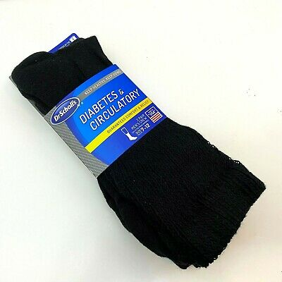 Dr Scholls Mens Crew Socks 7-12 Diabetes Circulatory Wide Leg Black 2 Pair NIP