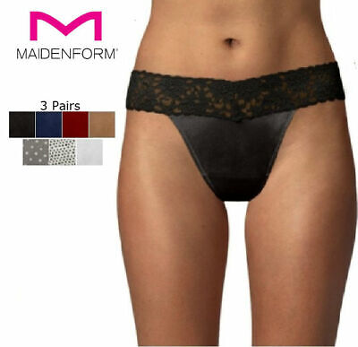 One Size #40118//MP3 Maidenform Aqua  All Lace Thong Panty