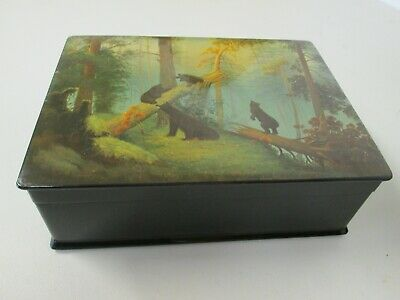 Stunning Antique Vintage Russian (Ussr) Signed Lacquer Enamel Hand Painted Box