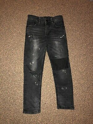 Boys NEXT Size 6-7 Years Black Super Skinny Distressed Jeans