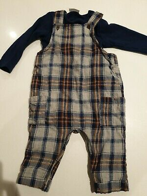 NEXT Baby Boy Tartan Check Dungarees Romper And Navy Vest 6-9 Months