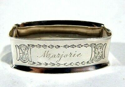 "Antique Sterling Silver Napkin Ring ""Marjorie"" w/ Chased Designs"