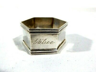 "Antique Sterling Silver Hexagon Napkin Ring ""Alice"" w/ Chased Flowers"