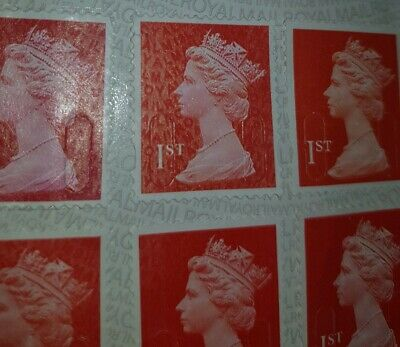 12 × 1st Class Stamps - Unfranked, Self Adhesive / Sticky Excellent Condition UK