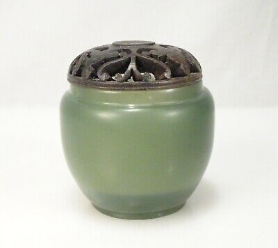 Antique Chinese Carved Jade Jar Box with Wood Lid -  58611