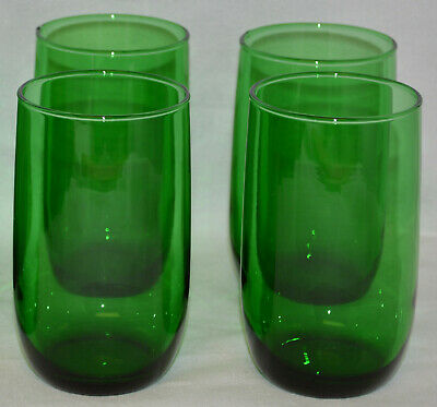 """10 Very Nice Anchor Hocking Roly Poly Forest Green 4 1/4"""" Tumblers 9 Oz - Ex"""