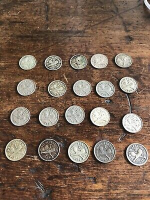 Vintage Coins New Zealand Lot  Of  20 1930s 40s Threepence