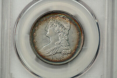 1838 capped bust half dollar Reeded Edge Au53 Bullseye Rainbow Toning
