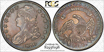 1830 Capped Bust Half Dollar PCGS AU53 Beautiful Toning TrueView