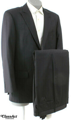 """Angelico Mens Black Striped Wool 2 Btn Dual Vent Suit 42L Flat Fronts 36"""" Waist"""