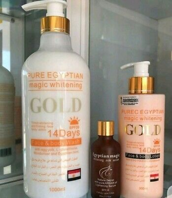 Pure Egyptian Magic Whitening Gold lotion,shower gel,and serum full set