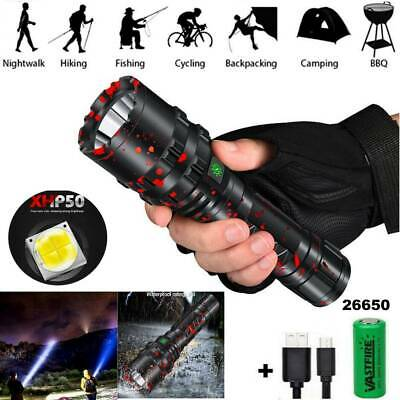 900000Lumens xhp50.2 5Modes LED 26650 Zoomable USB Rechargeable Flashlight Torch