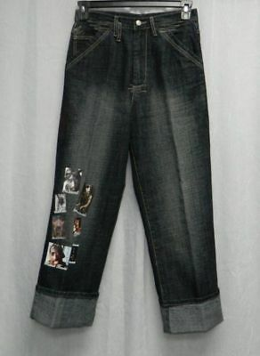 MAKAVELI BRANDED Tupac Shakur Faded Black Denim Photo Screen Jeans Boys sz 16