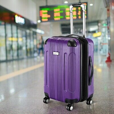 "20"" Purple Expandable Travel Bag Hardshell Suitcase Luggage Spinner Lightweight"