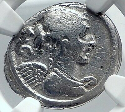 Roman Republic Ancient 46BC TRIUMPHS of JULIUS CAESAR Silver Coin NGC i81801