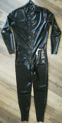 Mens Black Latex Rubber Front Zip Catsuit Recon Brand - Size M-L Used