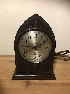 Vntg 1930's Hammond Gothic Cathedral Brown Bakelite Mantel Clock Working