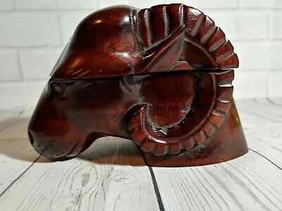 Vintage carved ram head container, box, trinket box, ink well