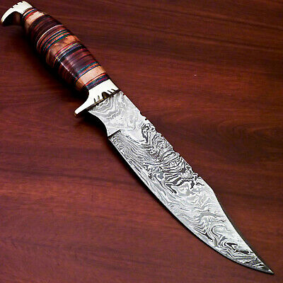 Custom Made Damascus Steel Hunting Knife-Brass Guard-Pw-1154