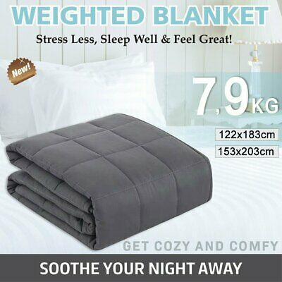 Premium Cotton Weighted Blanket Adults 7/9KG Heavy Gravity Relax Sleep Summer