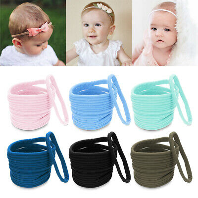 3//10 Pcs Thin Baby Nylon Stretchy Super Soft Headbands Hair Band Elastics Wrap
