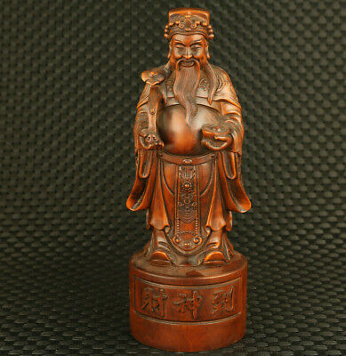 unique Chinese old boxwood hand god of wealth statue fortune valuable decorate