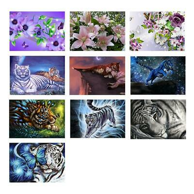 5D DIY Full Drill Diamond Painting Flower Tiger Cross Stitch Embroidery Kit Oy