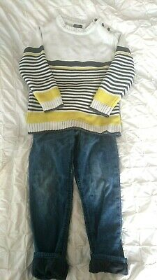 Boys outfit lined pull on trousers jeans denim stripe cotton jumper blue 5yrs