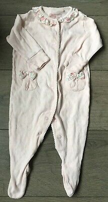 Next Baby Girls 3-6 Sleepsuit Pink Floral Frill Collar Bow Babygrow