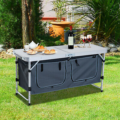 Picnic Table Camping BBQ Banquet Folding Storage Adjustable Portable Garden