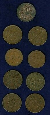 "China Republic  1912-1937 Mostly Copper 10 ""Cash"" Coins, Group Lot Of (9)!"