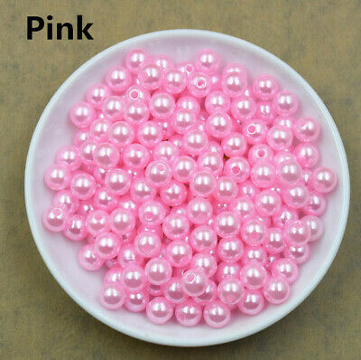 6mm Pink Plated 100pcs Acrylic Round Spacer Loose charm Beads  DIY Craft