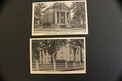 Sag Harbor New York  Two Vintage Postcards Masonic Temple & John Jermain Library